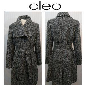 Cleo Wool Blend Tweed Jacket Coat Optional Belt
